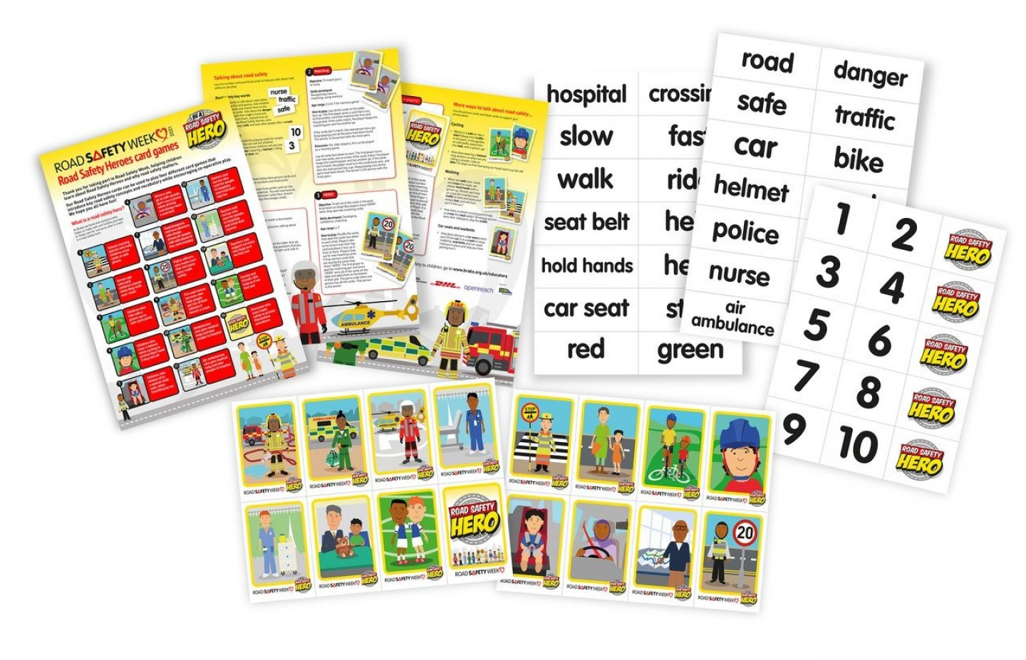 Road safety hero card games
