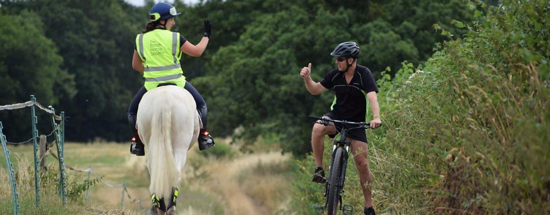 British Horse society cyclist