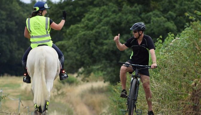 British Horse society cyclist