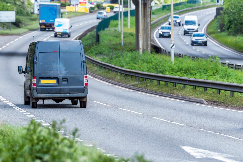 Van on uk motorway fast motion
