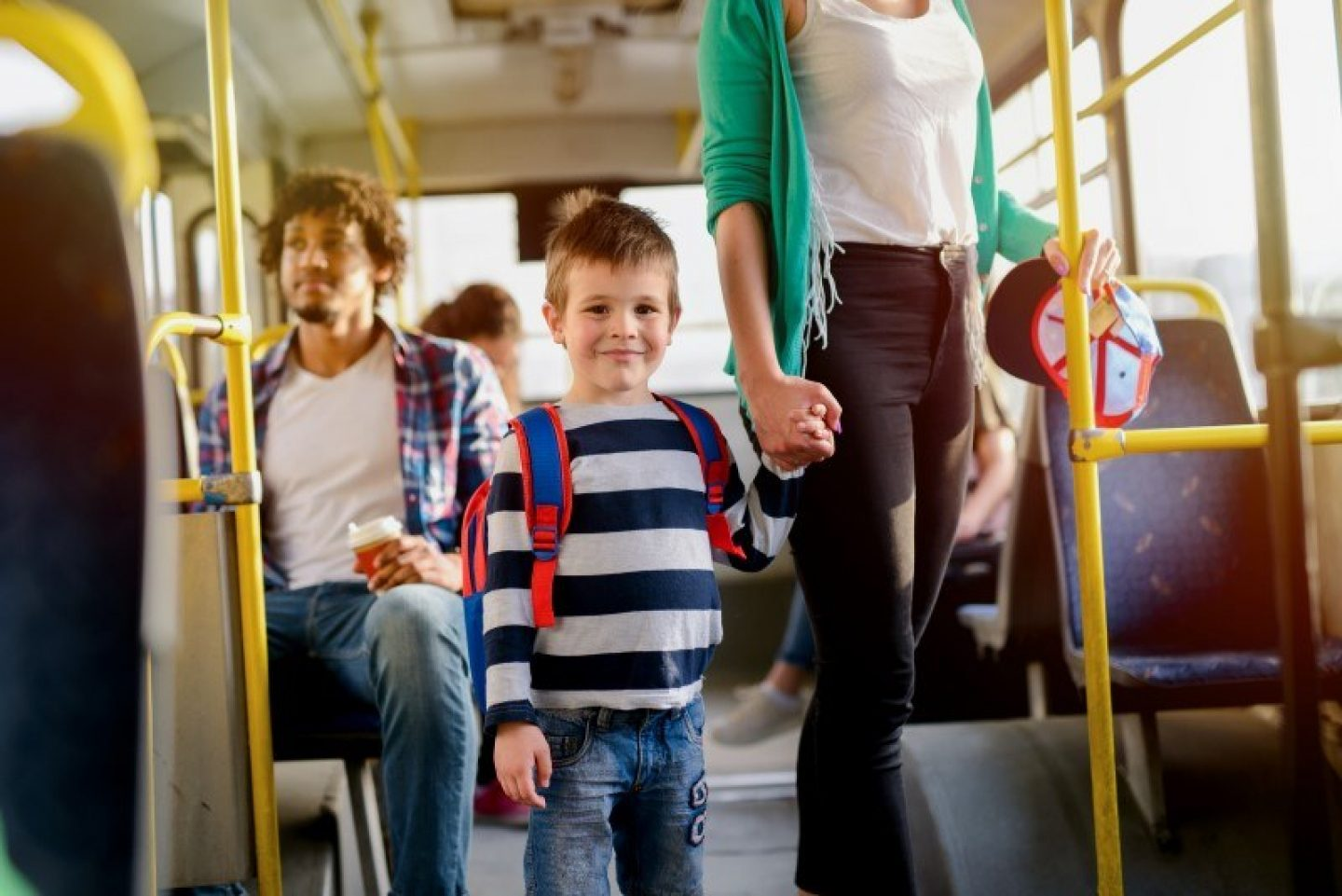 Child and family on a bus