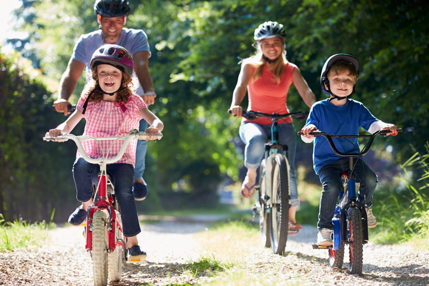Family cycling with children