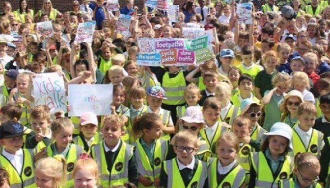 Children taking part in a Brake Kids Walk