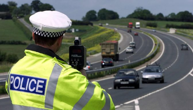 Police speed monitoring dual carriageway