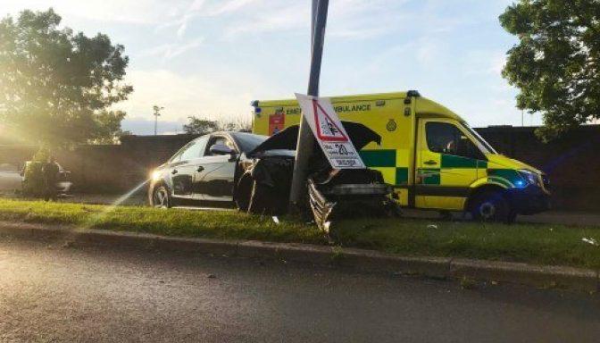 Car crash scene ambulance