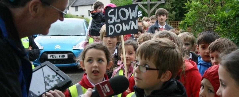 Children campaigning for slower speeds