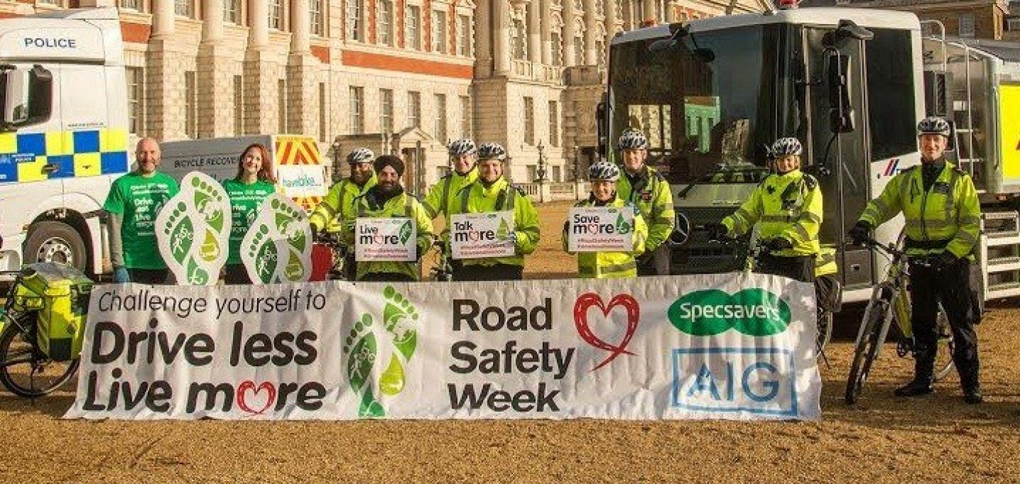 Police officers campaigning for Road Safety Week 2015