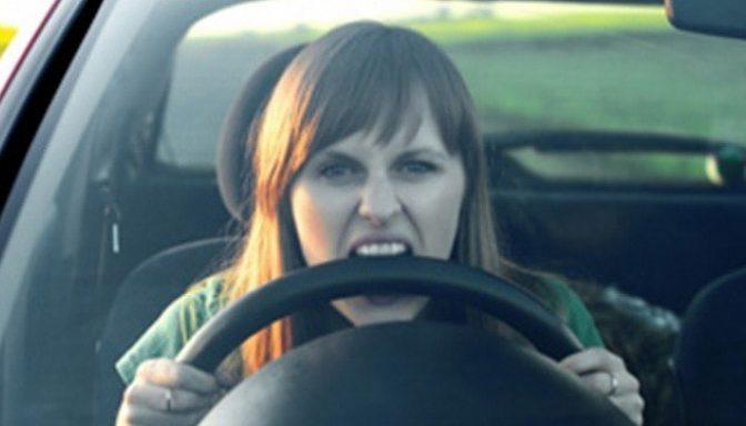 Angry woman driving